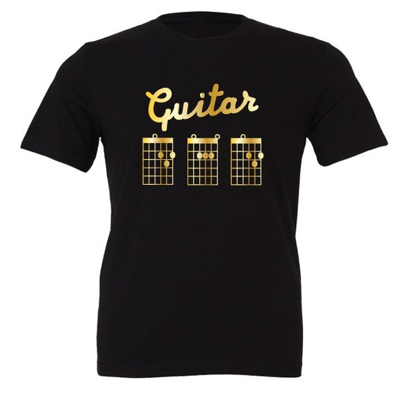 Guitar D A D T-Shirt. Special Edition Gold. Cool Guitarist Chord Tab inspired design. Dad, Daddy, Christmas, Xmas Present or Birthday Gift