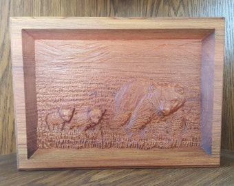Red Cedar wood Wooden 3D Engraving Relief Family of Wild Bears Wildlife Art Picture Farming hunting Framed wall art