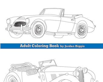 Digital Download Classic British Cars: Adult Coloring Book