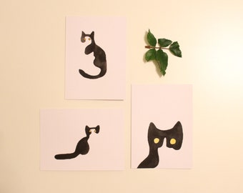 Hand Painted Watercolor Cat Cards