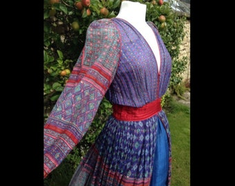 Unique breathtaken Vintage Anokhi Maxi Dress Indian Cotton Gauze Hippy Boho Ethnic 60s 70s Size8/10