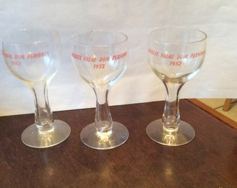 3 Societe Frere Dom Perignon Hollow Stem Glasses Champagne