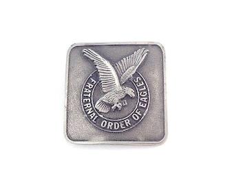 Vintage Pewter Fraternal Order of Eagles Belt Buckle