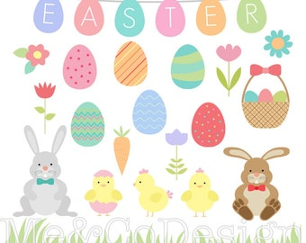 Easter Clipart, Easter Eggs and Borders Clipart, Fun Holiday Instant Download, Personal and Commercial Use Clipart, Digital Clip Art
