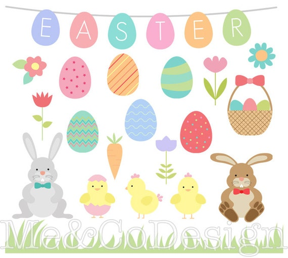 Easter Clipart Eggs And Borders Fun Holiday Instant Download Personal Commercial Use Digital Clip Art From MeAndCoDesign On