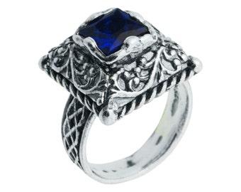 Silver Ring, Blue Zircon Ring, Sterling Silver 925, December Birthstone, Winter Ring, Handmade Jewelry, Silver Jewelry