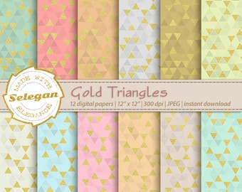 Gold Triangles, Digital Paper, Scrapbooking, Paper, 12x12, Printable, Triangle, Pattern, Golden, Texture, Background