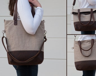 FREE SHIPPING***Brown Beige Handbag, Genuine Leather Straps, Shoulder Bag, Messenger Bag, Foldover, Convertible, Canvas, Fabric