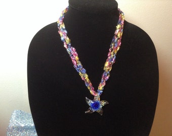 Glass Pendant and Crochet Necklace