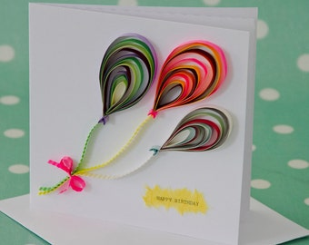 Quilled Balloons Birthday Card