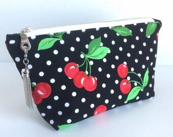 Cherry Makeup Bag, Cherry Cosmetic Bag, Small Cherry Pouch, Black Zipper Pouch, Cherry Purse Pouch