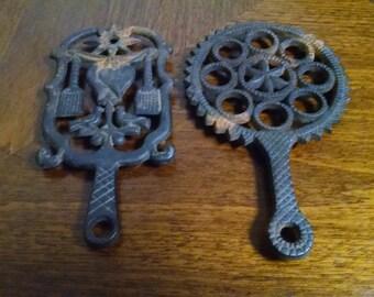 Pair of Vintage Cast Iron Trivets