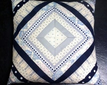 Quilted Cushion Cover - Blue and Grey
