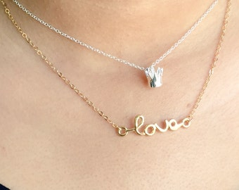 SALE... Love Cursive Necklace, 14k Gold Filled Chain, Simple