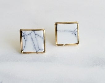 Marble Square Earrings, Minimalist Earrings, Bridesmaid Earrings