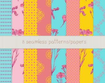 Pink Seamless Paper - Pink Purple Flowers - Pink Digital Papers - Vintage Flower Papers - Tileable Pattern Pack - Digital Design Patterns