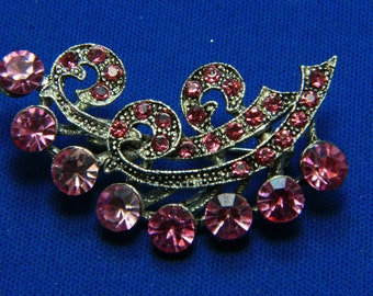 Vintage Art Deco Style Pink Rhinestone Pot Metal Brooch Pin