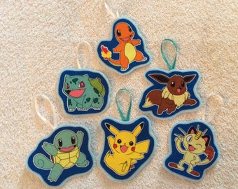 Pokeman Character Christmas Ornaments-Set of 6 ornaments- Pikachu and Friends!!