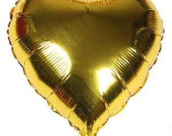 3 Gold Heart Balloons