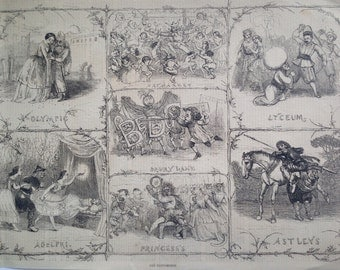 1858 London Pantomime Christmas antique print from engraving