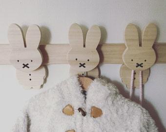 Wooden coat rack rabbit