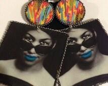 Celebrity Jewelry, Black Icon, Handmade Accessories, Aretha Franklin, Handmade Earrings, Edgy Earrings, Funky Earrings, Colorful Earrings