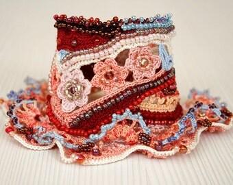 Crochet Beaded Bracelet, Gift for Girl, Cotton Unique Jewelry for women, Fiber Art, Crochet Lace Bracelet, Pink Carmine Blue Cuff