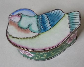 Copper Enamel Bird Box, Vintage Trinket Box, Ring Box, Jewelry Box,   #5