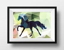 Geometric print, Horse print, Horse illustration,  scandinavian prints home wall decor Instant Download