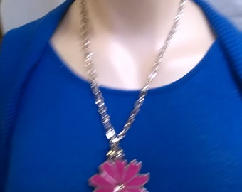Silver Tone Necklace with Pink Flower Pendant