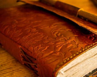 Flower Embossed Leather Journal