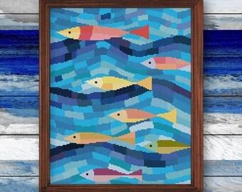 Fish Art, underwater cross stitch pattern, beach house decor, coastal theme room display, marine life art, anchor color minimalist nature