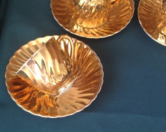 Vintage Set of Gold Lustre Demitasse Cups/ Small Gold Coffee Cups/ Set of Six Cups and Saucers/ Made in Japan - 1970's