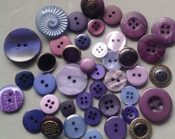 Purple and Mauve Buttons/Mixed Button Destash/Sewing And Craft Supplies