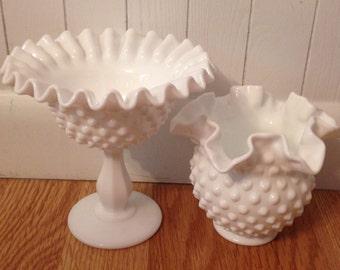 Vintage Ruffled Hobnail Milk Glass Set