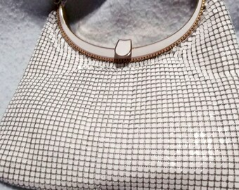 Evening Bag, Vintage Metal Beaded Evening Bag, White Formal Bag,  After Five Handbag, Handbag with Shoulder Strap, White Evening Bag