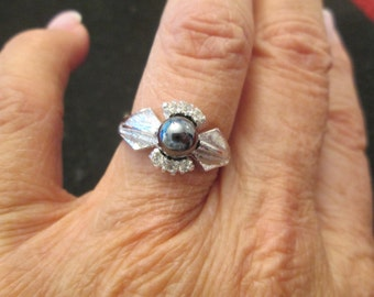 BLOWOUT Sale>>>Genuine HEMATITE and STERLING Silver ring, vintage 1960's, never worn>> Black Pearl