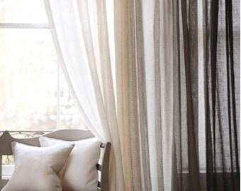 Custom Belgian Sheer Linen Drapery.100% Linen Drapery.Sheer Linen Curtains.Natural colour Sheer Linen Curtains.