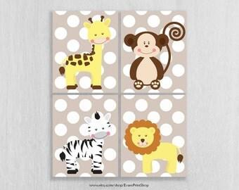 Safari Nursery Wall Art Prints Set of 4 - Jungle Nursery Art - Baby Safari Animals - Childrens Art - Safari Nursery Decor - Jungle Decor