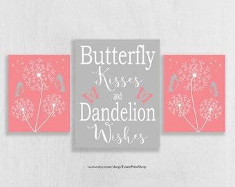 Pink and Gray Nursery Wall Art Print Set of 3 - Pink and Grey Nursery Decor - Dandelion Wall Decor - Butterfly Nursery Decor
