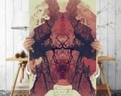 Rorschach Art Print- Red Oriental Wall Art, Digital Download | Bohemian Wall Decor | Tree Art | Eclectic, Printable, Signed Art