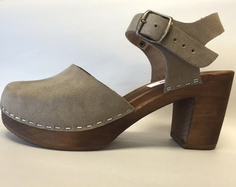 "Grey Flocked ""Suede"" Mary Jane on brown Super High Heel with buckled ankle strap"