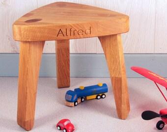 Personalised Solid Oak Wooden Stool