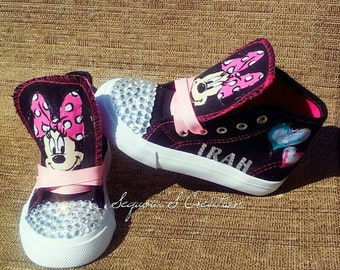 Custom minnie mouse hightops with bling/rhinestones