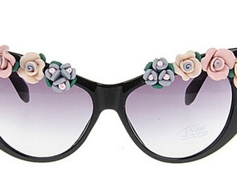 Cats Eyes Handmade Colorful Ceramic Flower Sunglasses Women Beach Sunglasses