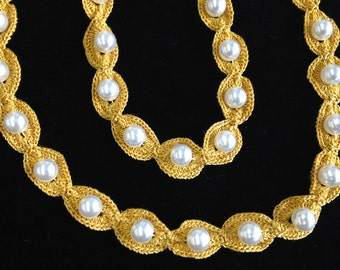 """Gold, Hand-Crocheted Trim studded with White Pearls, rayon thread, approx. 1/2"""" wide, offered in 2 yd increments, 6 lots available."""