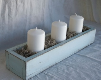 "Centerpiece Box: 21"" Light Blue Distressed Paint, Reclaimed Wood"