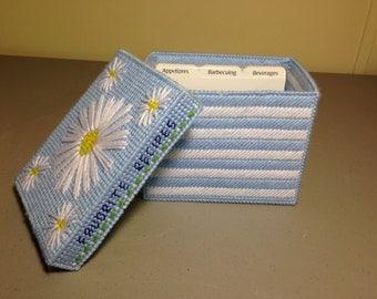 Daisy Recipe Box, Plastic Canvas Recipe Box, Kitchen Decor, Daisy Lovers, Recipe Cards, Gift,