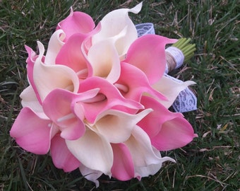 12 pc Wedding Pkg, Pink and ivory real touch calla lily bouquets with lace and burlap, bridesmaid bouquets, boutonnieres, corsages, rustic