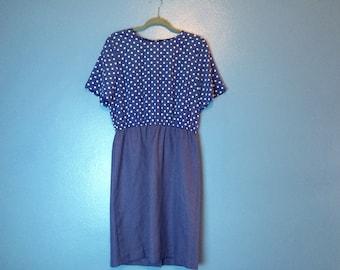 XL Polka Dot Midi Dress ~ 1980s Vintage